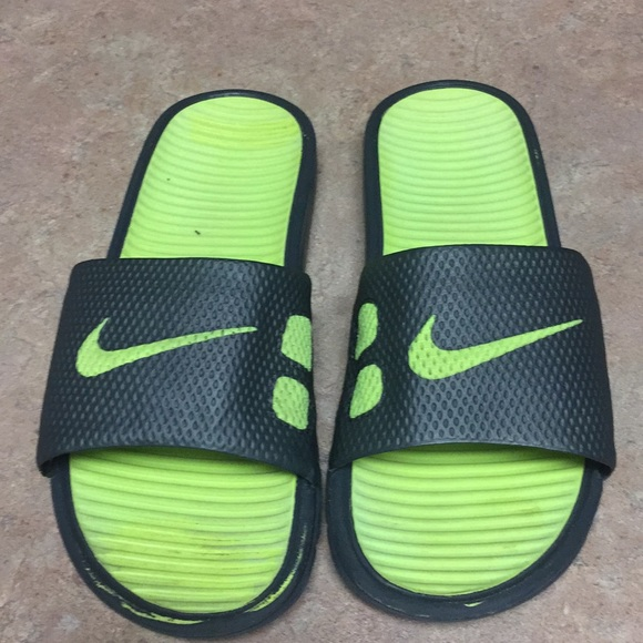 Neon Green And Grey Mens Nike Slide On